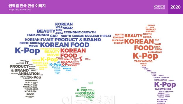 한국국제문화교류진흥원, 권역별 한국 연상 이미지 세계지도를 제작